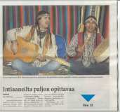 News paper articles about the Metis-Wabanaki tour organized by Nuortenmaa (Young People's Planet) in Finland's schools.